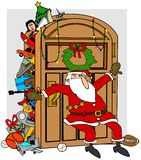 Santa's stuffed closet. This illustration depicts Santa trying to keep items in his full closet from overflowing Stock Image