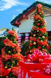 Santa's Village. All decorated for the holidays with decorated trees, presents and candy cane pillars Royalty Free Stock Image