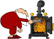 Santa's Wood Stove Stock Images