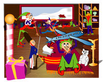 Santa's Workshop. All the elves are busy getting ready for Christmas royalty free illustration