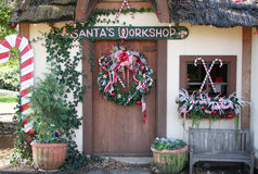 Santas Workshop. Is decorated for the holiday Stock Photos