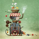 Santa`s Workshop. Conceptual illustration greeting  illustration or  postcard Christmas or New year with Santa`s workshop bizarre industrial  car to create gifts Royalty Free Stock Photo
