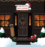 Santa's workshop at the north pole. EPS 10 vector royalty free stock illustration for ad, promotion, poster, flier, blog, article, social media, marketing Royalty Free Stock Photo