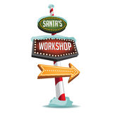 Santa's Workshop retro marquee sign Stock Images