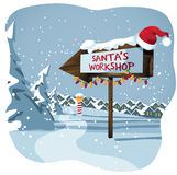 Santa's workshop sign at the north pole Royalty Free Stock Photo