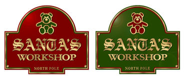 Santas Workshop. Sign Plaque with Gold Lettering and Teddy Bear North Pols Stock Images
