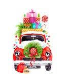 Santa ` s xmas samochód Obrazy Royalty Free