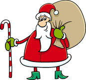 Santa with sack and cane Stock Photo