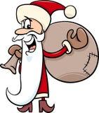 Santa with sack cartoon illustration Royalty Free Stock Photos