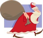 Santa with sack cartoon illustration Royalty Free Stock Images