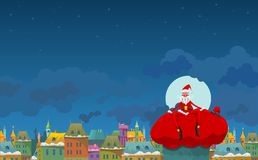 Santa with a sack. Santa Claus with gifts on a sack against the city and the sky. Vector. All elements on layers Stock Images