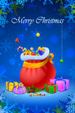 Santa sack and gift box for Christmas Royalty Free Stock Images