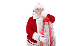 Santa with sack of gift boxes Stock Image