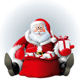Santa Claus with sack of gifts Royalty Free Stock Images