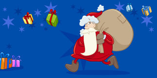 Santa with sack greeting card Royalty Free Stock Photo