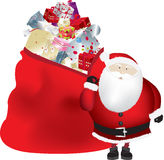 Santa and sack isolated Stock Images