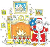 Santa with a sack near a fireplace. Vector illustration of Father Christmas with his gift bag standing near a chimney with stockings for presents Royalty Free Stock Photos