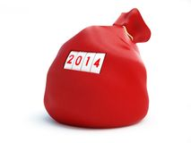 Santa sack new year 2014 Royalty Free Stock Photos