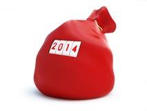 Santa sack new year 2014. On a white background Royalty Free Stock Photos