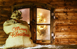 Santa Sack at Vintage Wooden Window Pane Royalty Free Stock Image