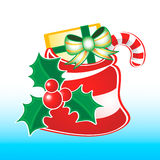 Santa sack with xmas decoration Royalty Free Stock Images