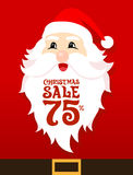 Santa Sale Card. On red background Stock Photo