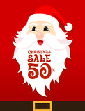 Santa Sale Card. On red background Stock Photography