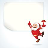 Santa Sale Sign. Jolly Santa Claus Pointing at the Blank Sale Sign. Christmas Series Stock Image