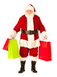 Santa: Santa Excited To Do Christmas Shopping. Extensive series of an isolated on white, Caucasian, authentic Santa Claus Stock Image