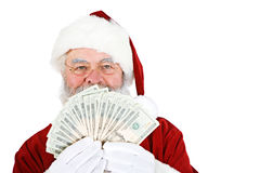Santa: Santa Holding Money Fan Royalty Free Stock Photos
