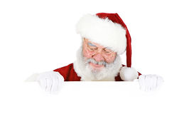 Santa: Santa Holding White Card Imagem de Stock Royalty Free