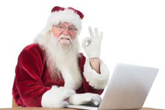 Santa is satisfied about what he found Royalty Free Stock Photos