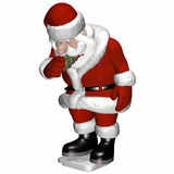 Santa Scale 2. Santa standing on a scale checking his weight and eating a Christmas tree cookie ornament Royalty Free Stock Image