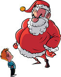 Santa scolding naughty child Royalty Free Stock Photos