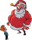 Santa scolding naughty child. Isolated on white Royalty Free Stock Photos
