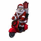 Santa Scooter - Isolated Royalty Free Stock Photos