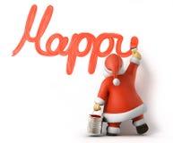 Santa scrive il nuovo anno felice Fotografia Stock