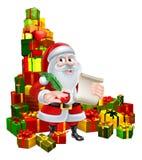 Santa With Scroll y regalos Fotos de archivo