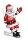 Santa se inclina contra un borde o una frontera Imágenes de archivo libres de regalías