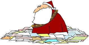 Santa In A Sea Of Papers Stock Image