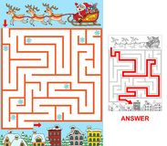 Santa is searching for a city. Help Santa to find a path to a city. Labyrinth for kids. Variant with square labyrinth Royalty Free Stock Photos