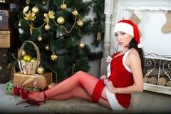 Santa seksowna dziewczyna Zdjęcia Royalty Free