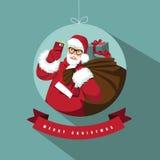 Santa selfie in ornament merry christmas design Royalty Free Stock Image