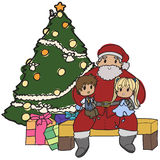 Santa setting. Image of Santa with two kids on his lap Royalty Free Stock Images