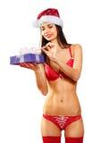 Santa 'sexy' com os presentes isolados Imagens de Stock
