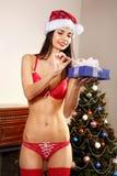 Santa sexy con i presente Fotografie Stock