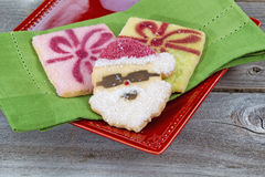Santa Shaped Cookie for the Holiday Stock Photos