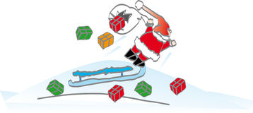 Santa shed presents. Crush on snow stock illustration