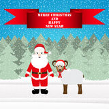 Santa and sheep. In the Christmas forest Royalty Free Stock Photography