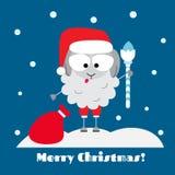 Santa sheep. Flat designed christmas greeting card with sheep Royalty Free Stock Photography
